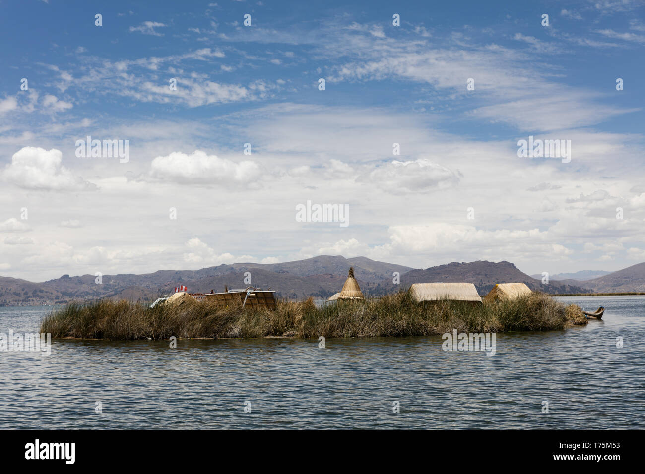 Landscape of islands Uros  ion Titicaca lake, Peru - Stock Image