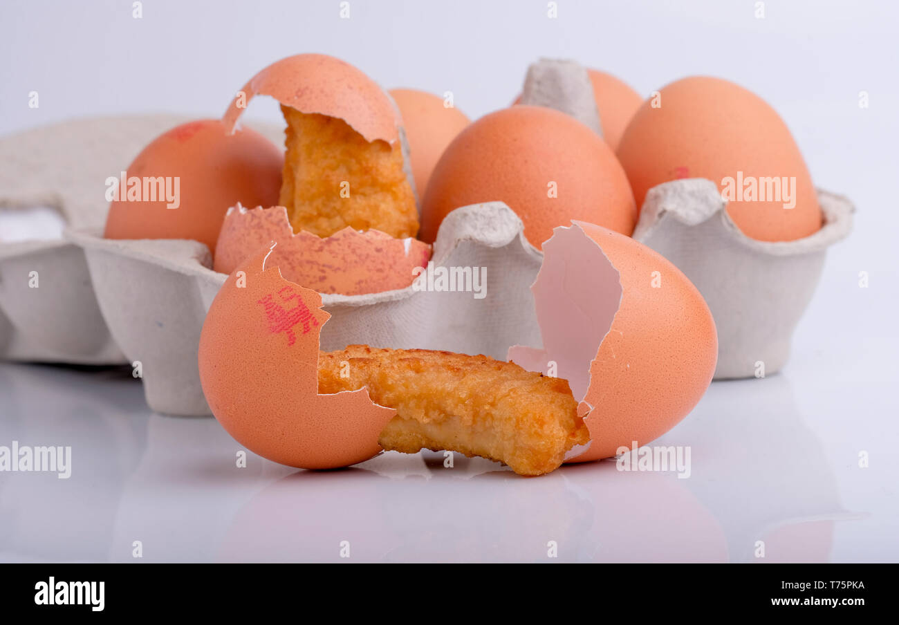 Chicken shapes  (chicken dippers) and egg shells hatching as chicks.          by Gavin Crilly Photography, - Stock Image