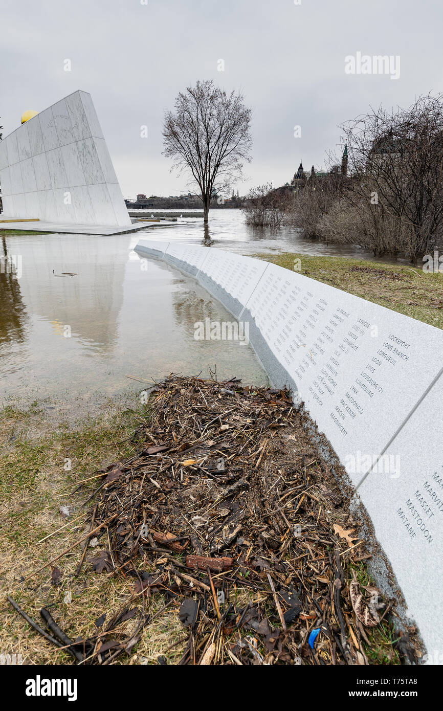 Epic flooding of the Ottawa River in April of 2019 caused major damage and submerged the Navy Monument on Victoria Island near Parliament Hill. - Stock Image