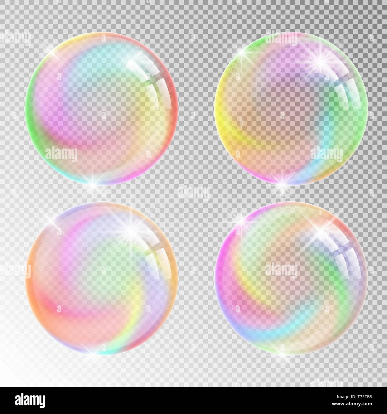 Colorful soap bubbles. Vector illustration with transparent background. - Stock Vector