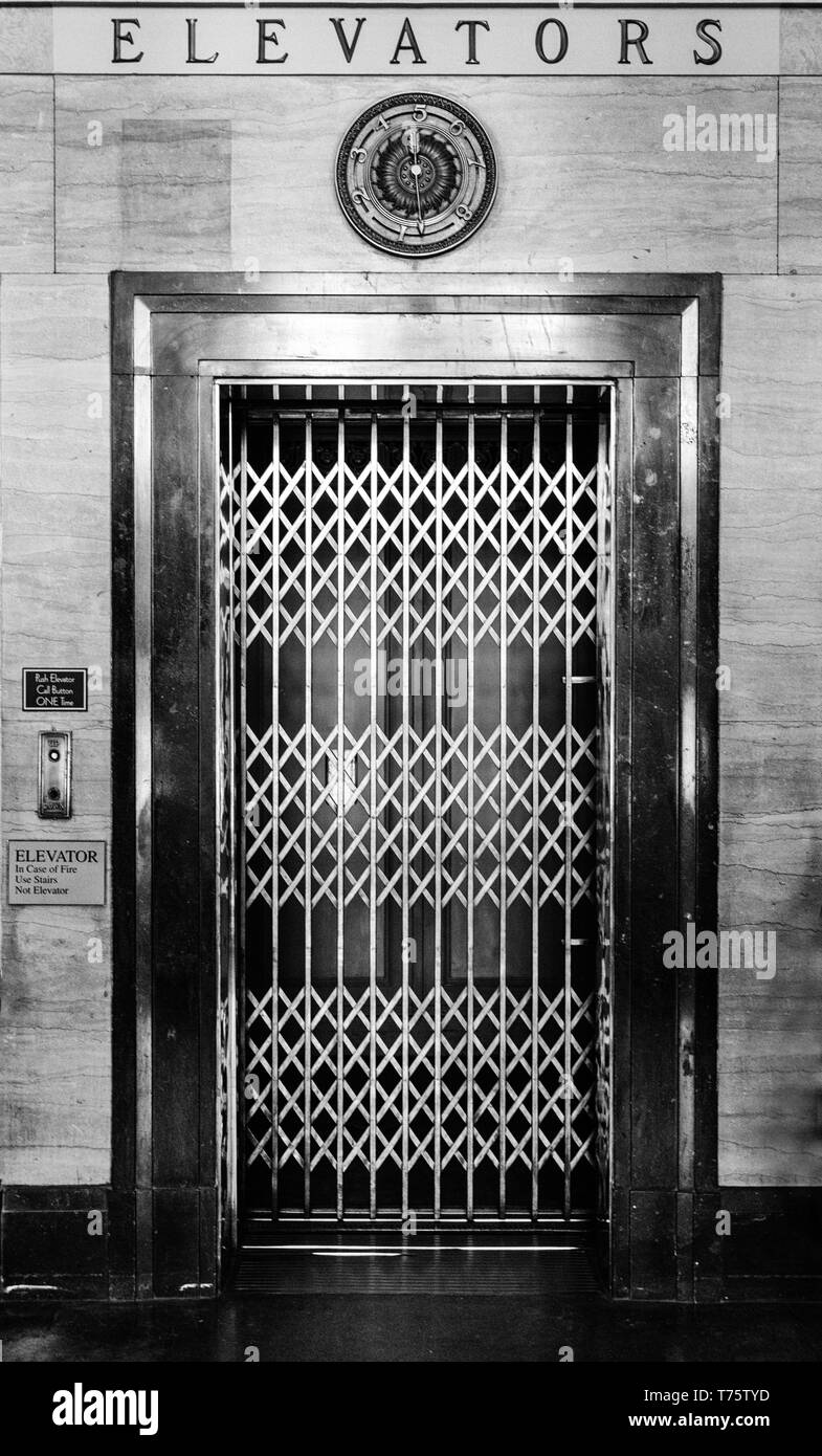 An old-fashioned elevator in the City Building of Asheville, NC, USA - Stock Image