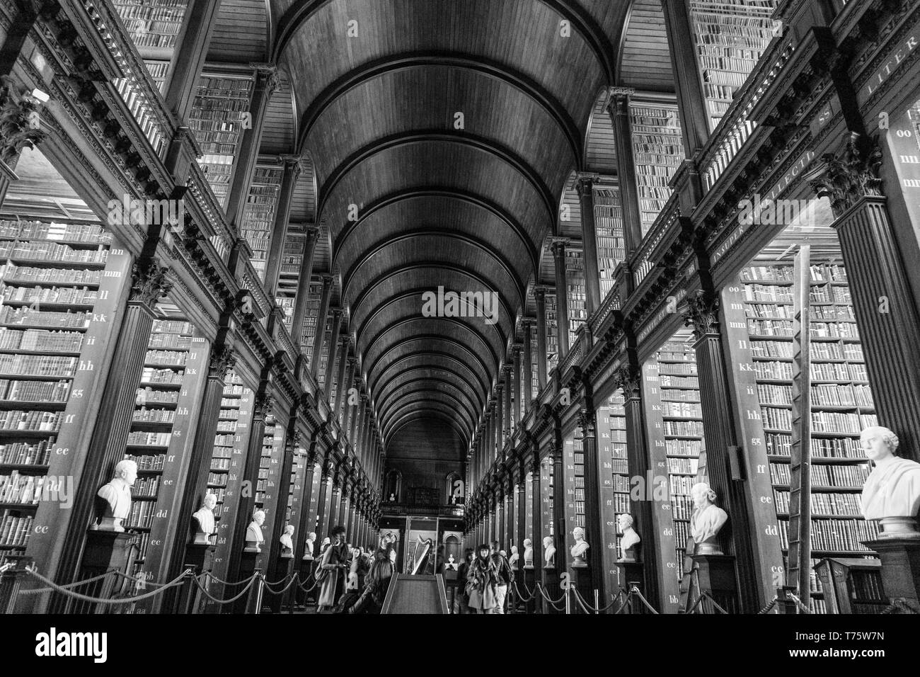 The Long Room in Trinity College Library, Dublin. 15.01.2019 - Stock Image