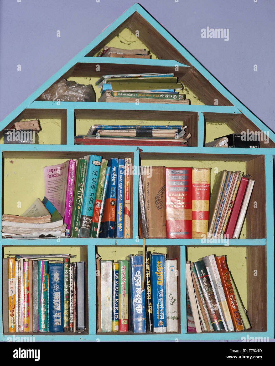The bookshelf is one of the most basic pieces of furniture in any room, and also one of the most important. - Stock Image