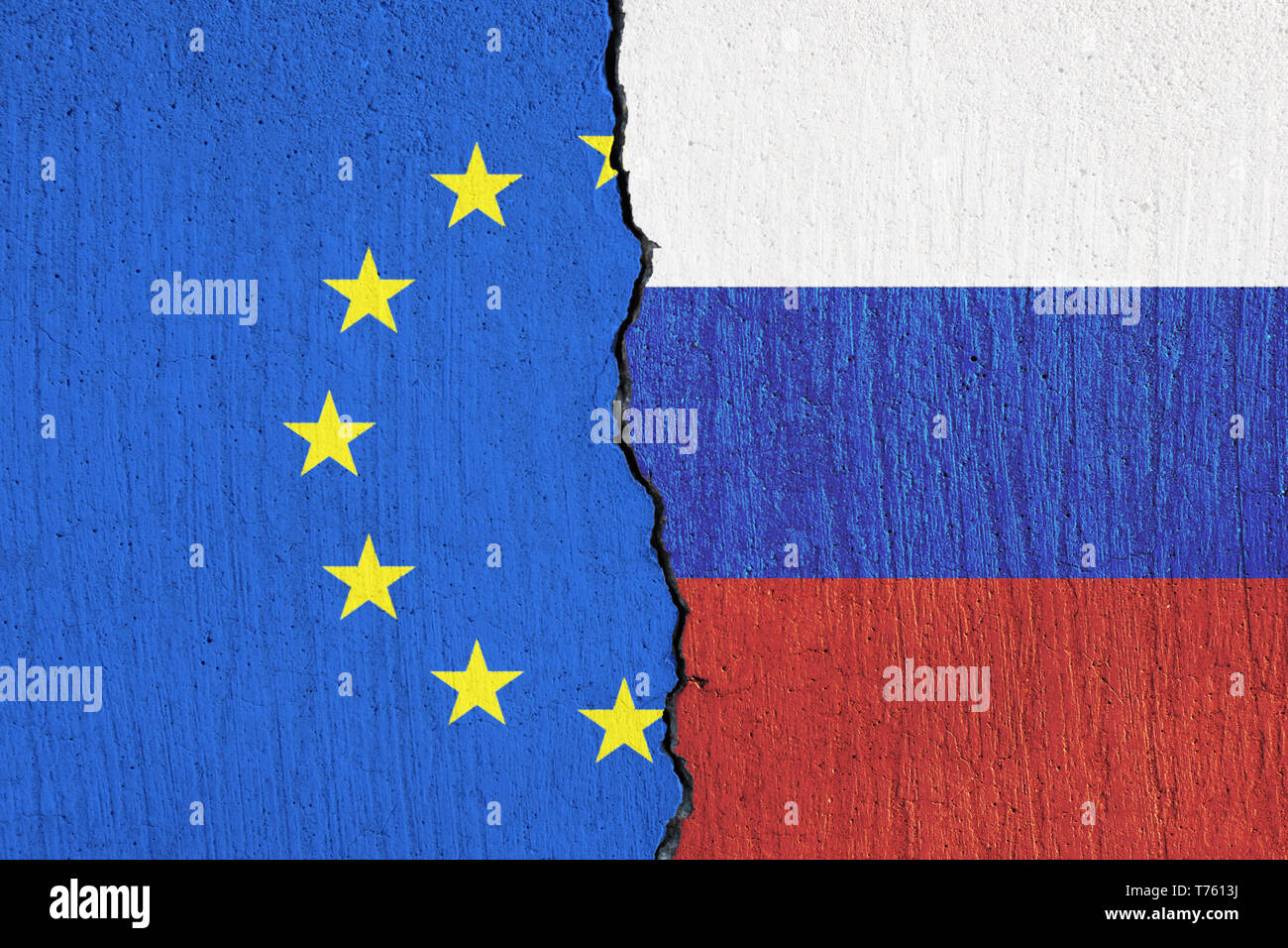 flag of the European Union and the flag of Russia painted on wall Stock Photo