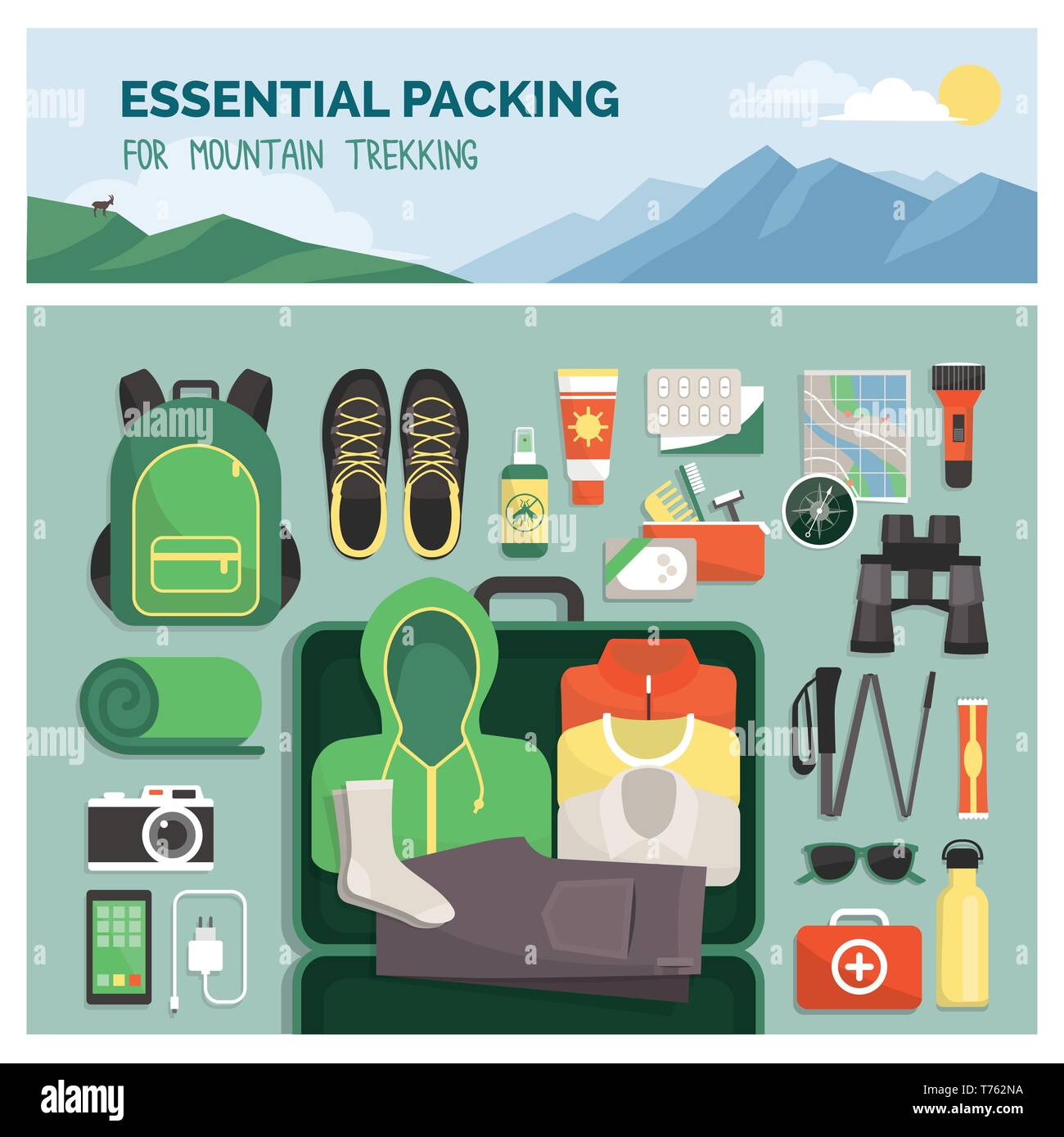 Essential packing for mountain trekking, outdoor travel and sport, clothes and accessories top view - Stock Image