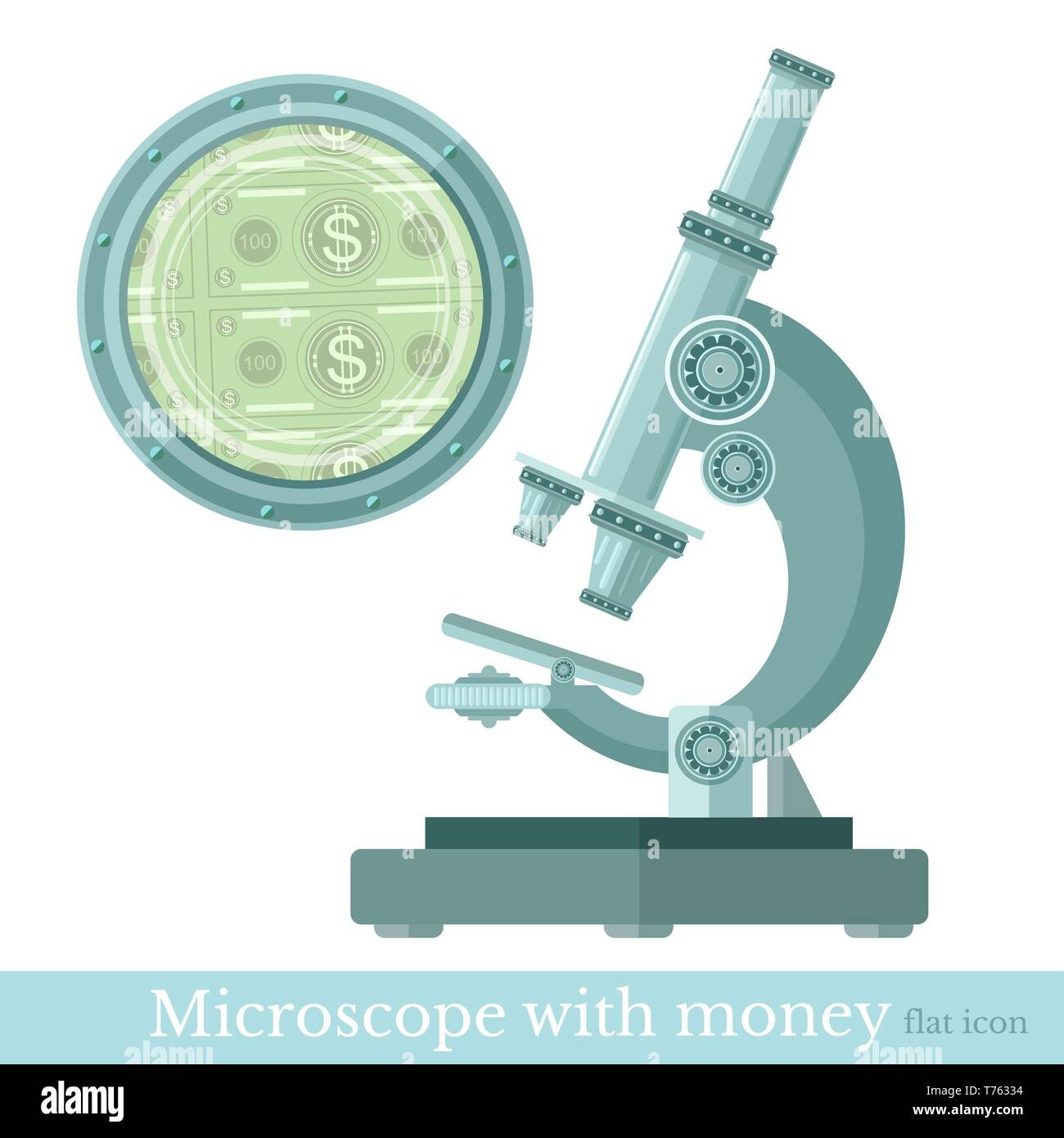 flat concept microscope with money - Stock Vector