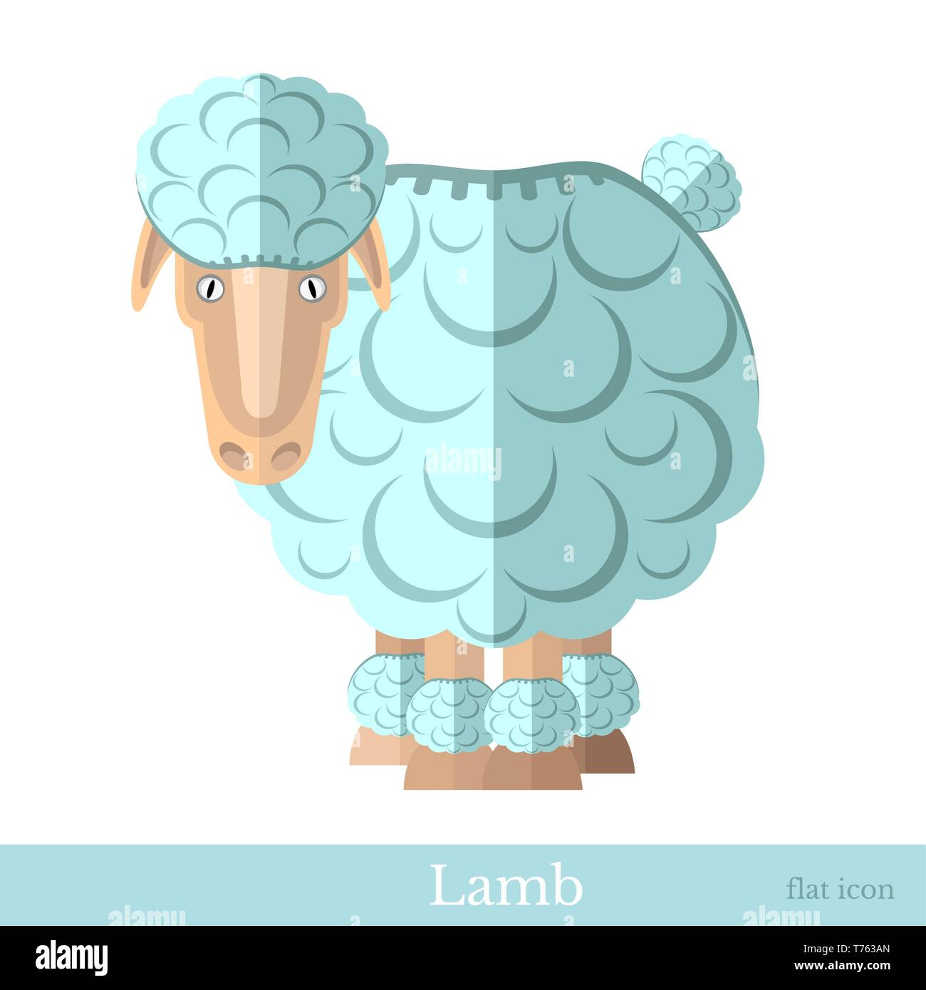flat lamb sheep isolated on white - Stock Vector