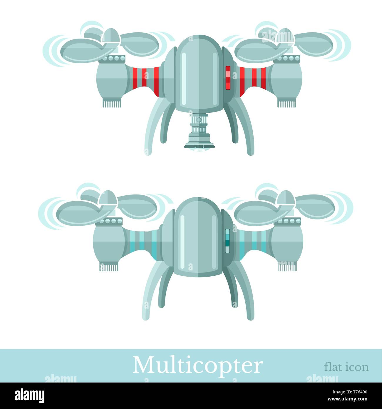 Two multicopter or quadcopter with camera and without it in flat style isolated on white - Stock Vector