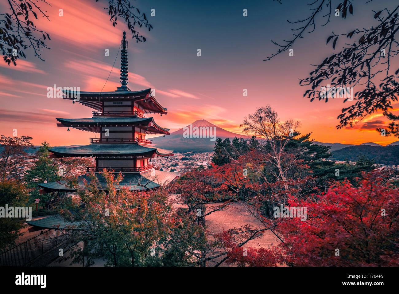 Mt. Fuji with Chureito Pagoda and red leaf in the autumn on sunset at Fujiyoshida, Japan. Stock Photo