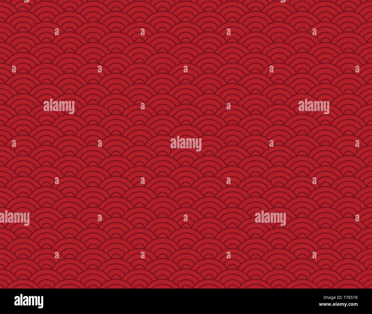 Chinese vector background with waves, seamless pattern, chinese culture - Stock Vector