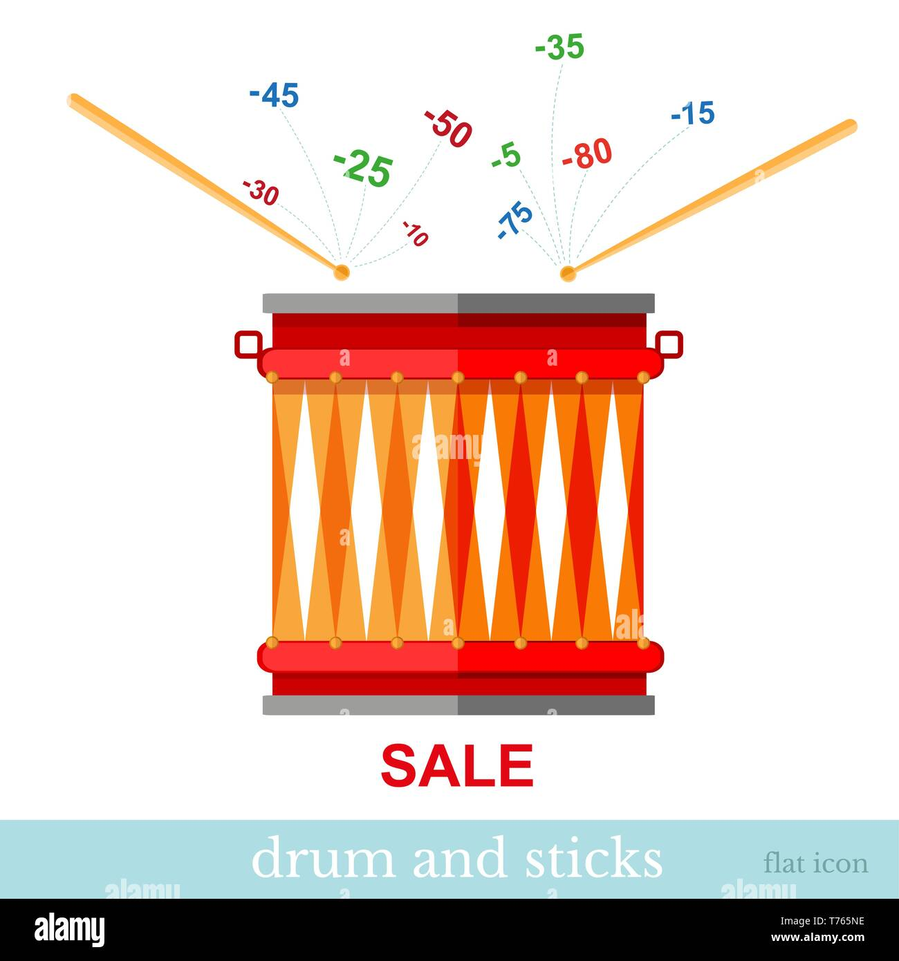 Flat design vector concepts icon of finance and business,sticks hit drum and discounts fly out on white - Stock Vector