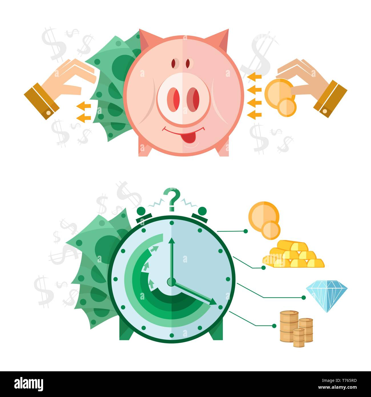Set of flat design concept icons with piggy bank and clock money - Stock Vector