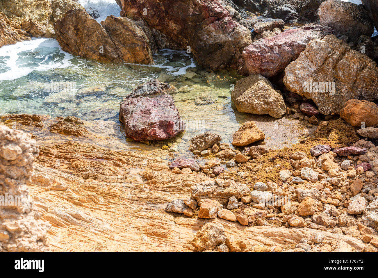 Tidal pool at Grand Fond in St Barts - Stock Image