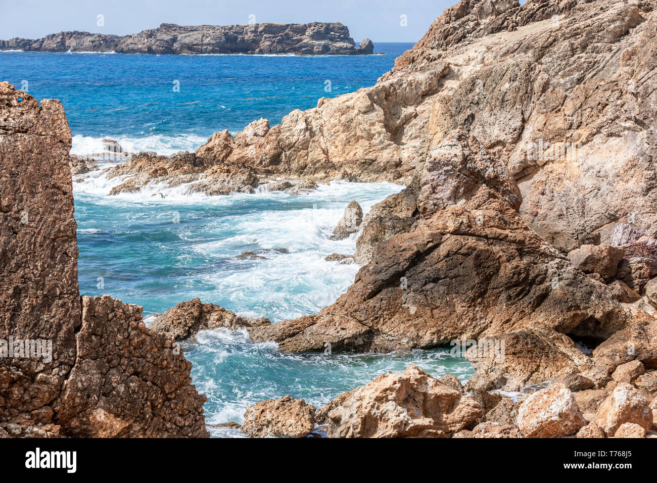 Rugged coast line of Grand Fond, St Barts - Stock Image