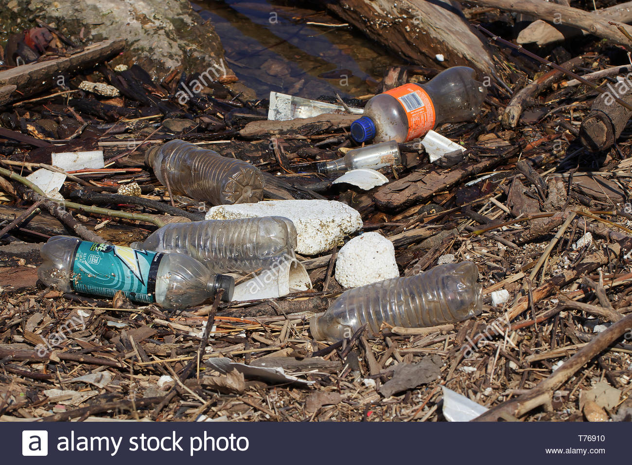 MAY 2019 - MINNEAPOLIS, MN: Plastic bottles, plastic waste, and Styrofoam litter the banks of the Mississippi River. - Stock Image