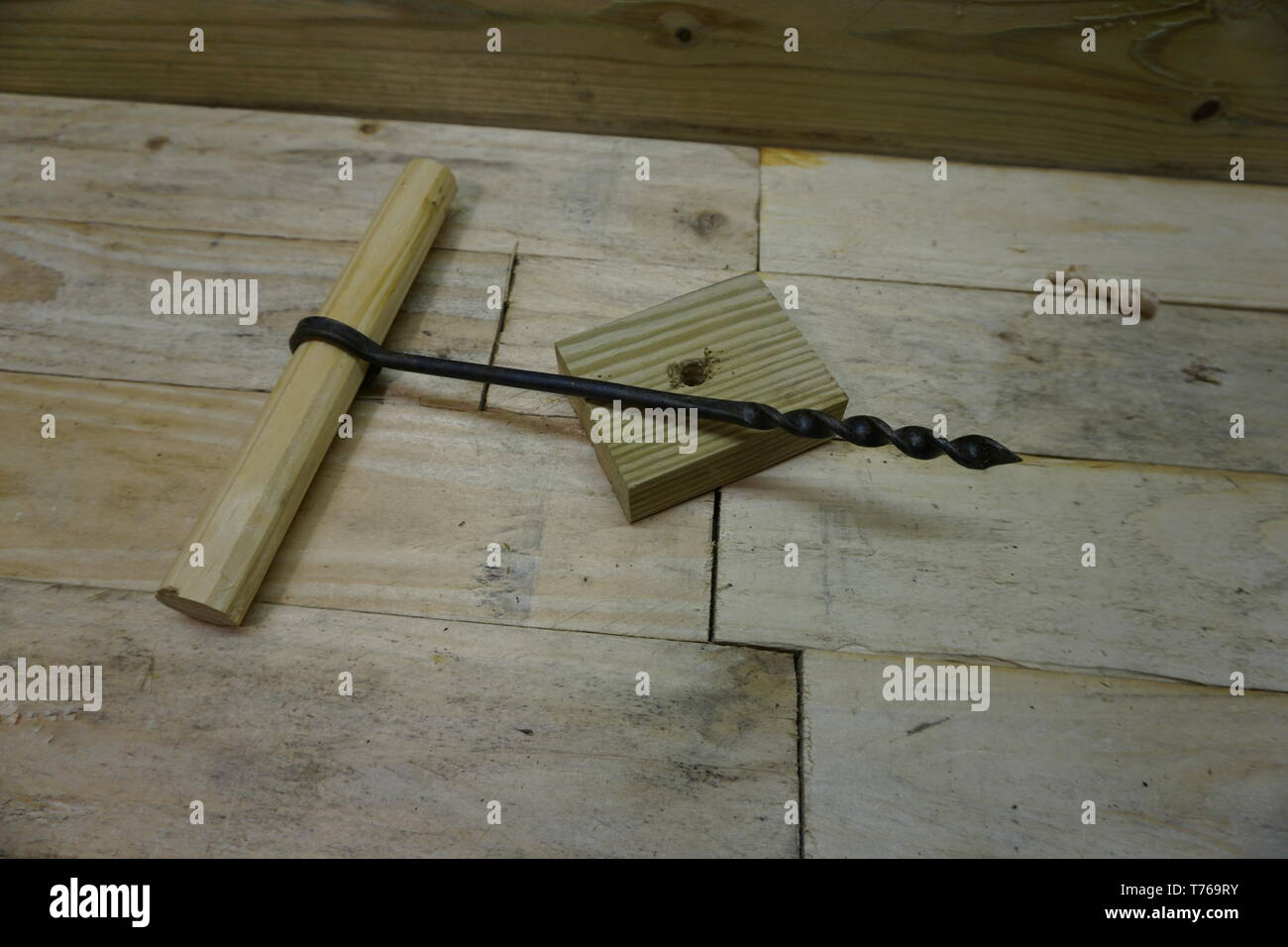 viking hedeby (haithabu) twist auger, reconstruction by daegrad tools - Stock Image