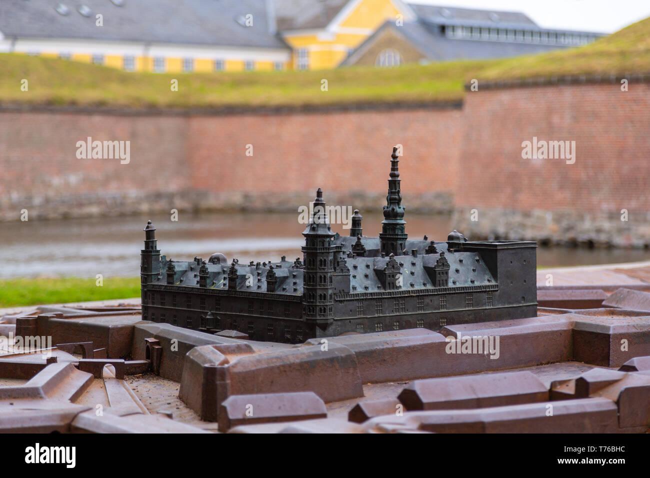 Bronze miniature replica Kronborg castle, Denmark - Stock Image