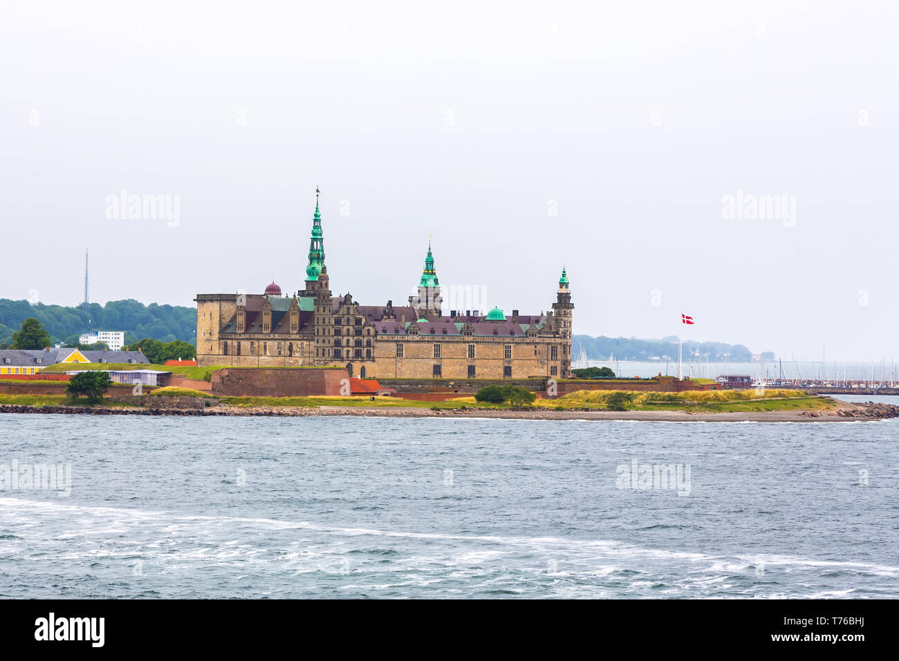 Kronborg Castle on the shore in Helsingor Stock Photo