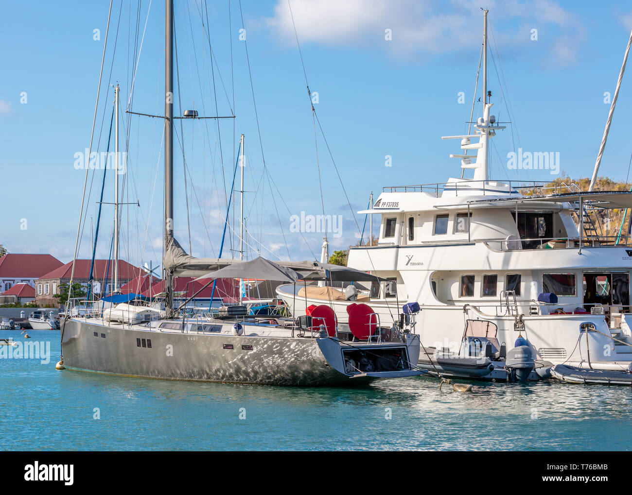 Expensive yachts at mooring in the port of Gustavia, St Barts - Stock Image