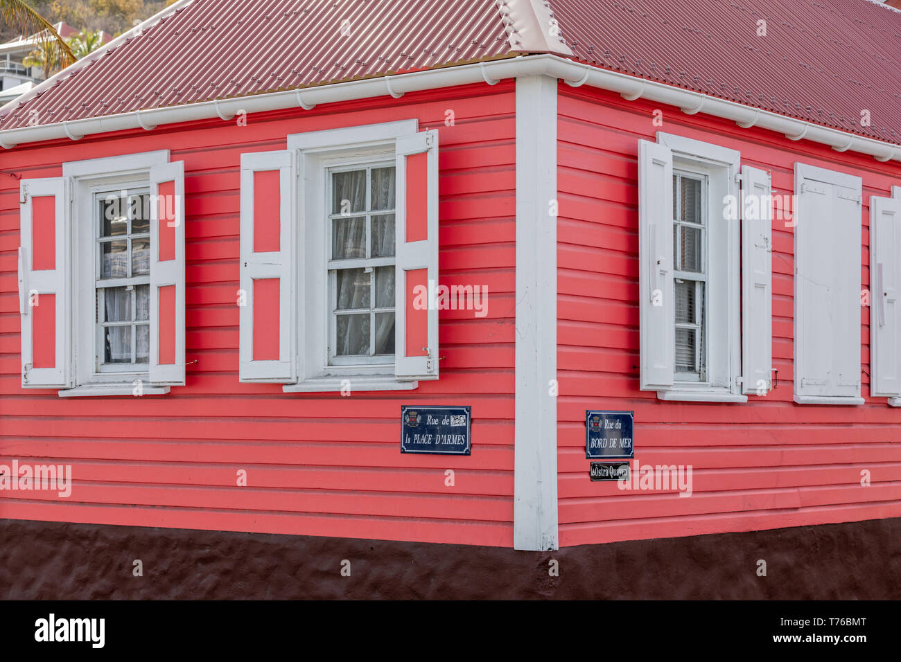 Colorful house in Gustavia, St Barts - Stock Image