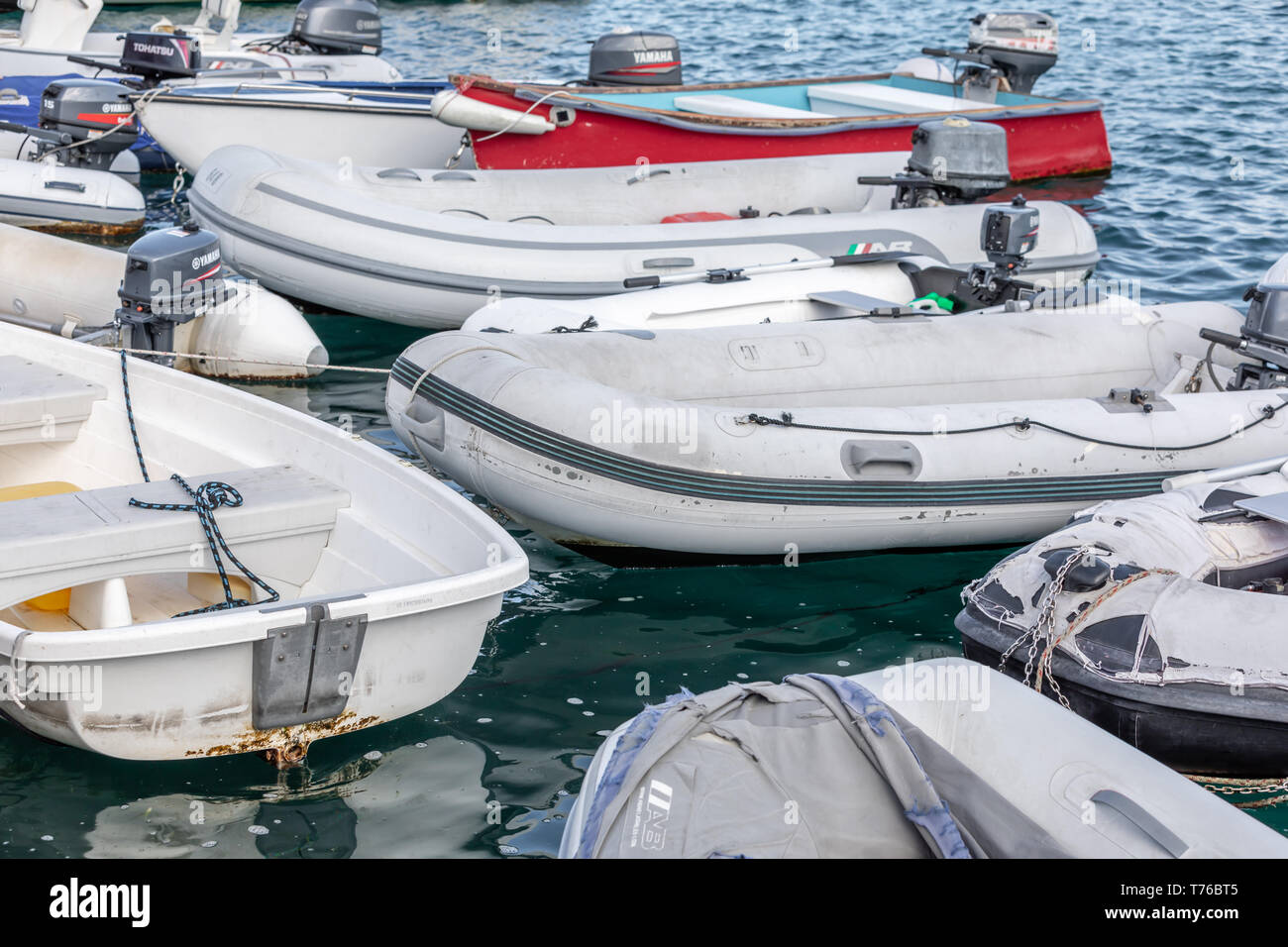 A group of dinghies tied together in Gustavia, St Barts - Stock Image