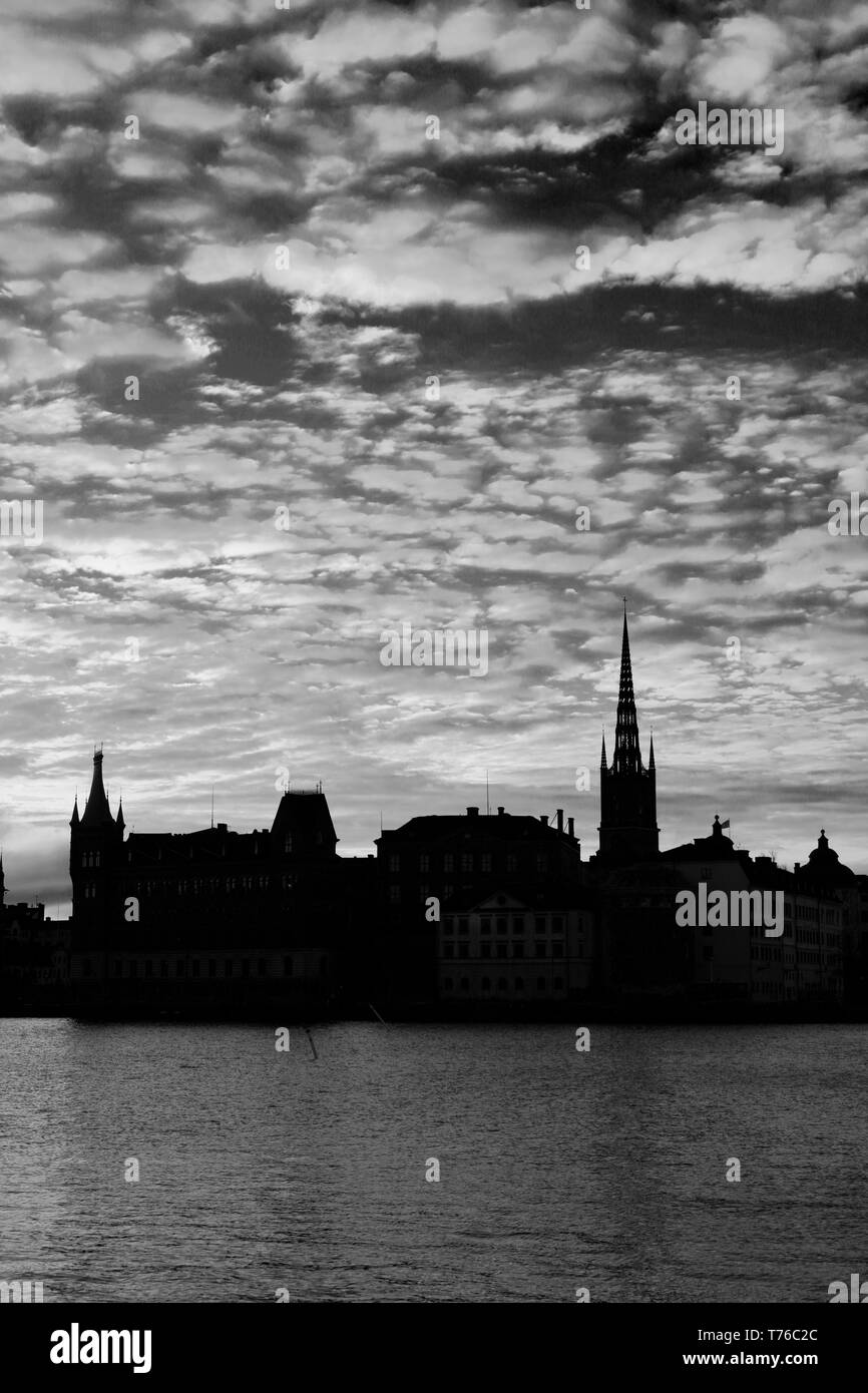 Dawn colours over the Gamla Stan, Stockholm City, Sweden, Europe - Stock Image