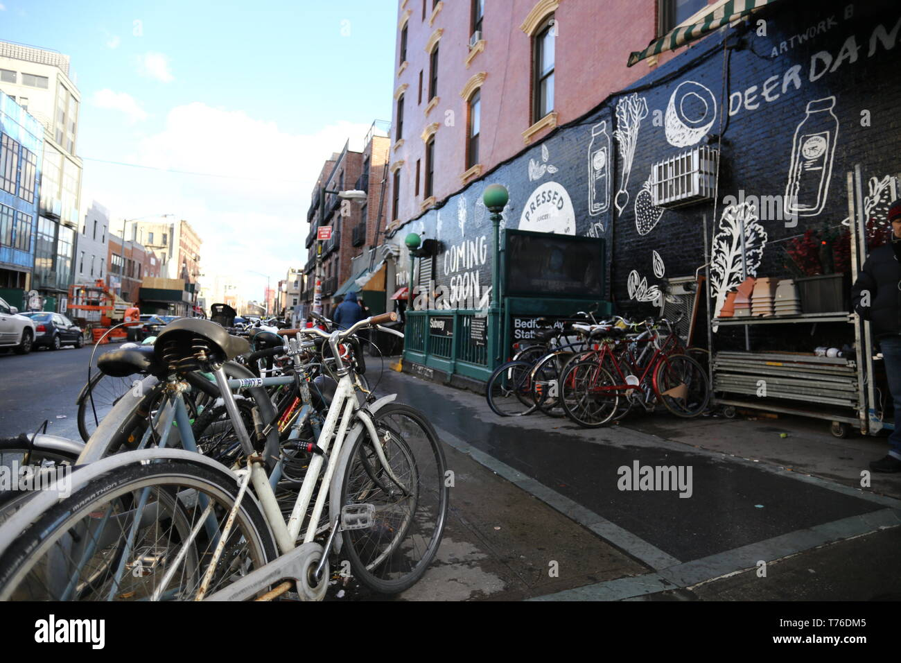 Bikes parked on the streets of Williamsburg in Brooklyn, NY - Stock Image
