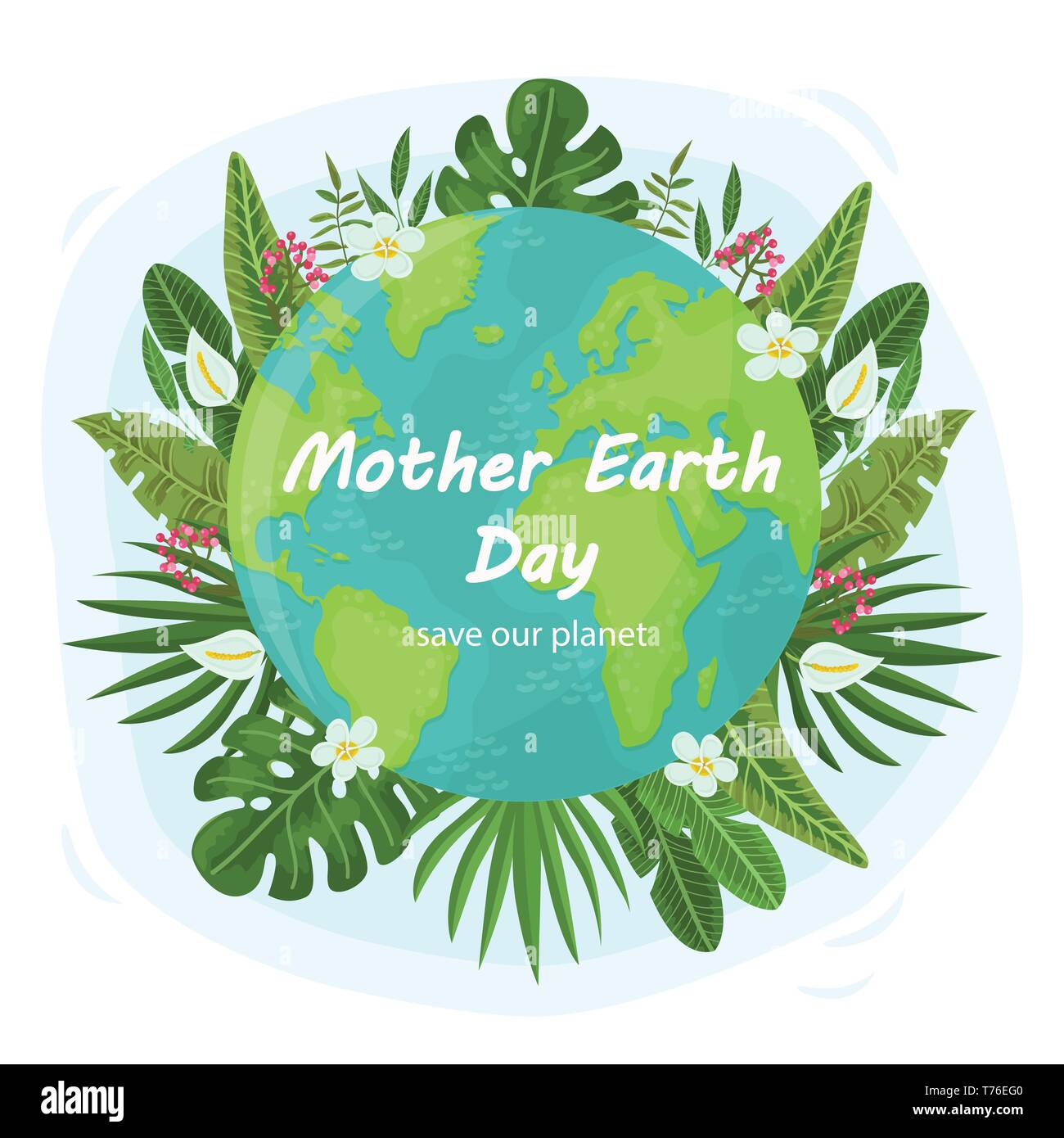 Cute Background For Mother Earth Day Vector Illustration For Your