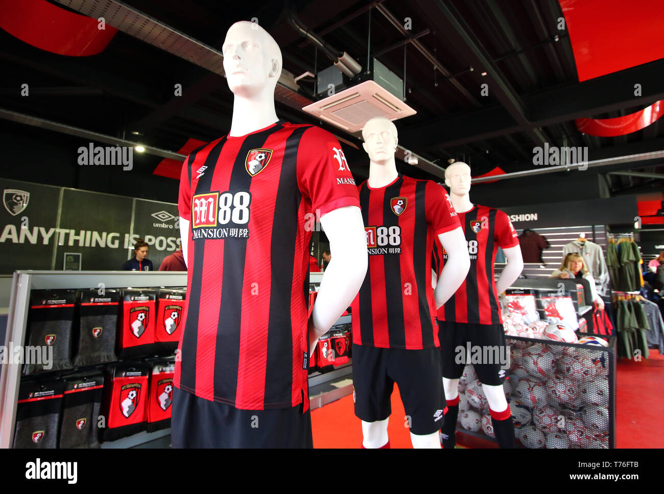 best website b7a67 fc3c0 General view of the new AFC Bournemouth kit on sale at the ...