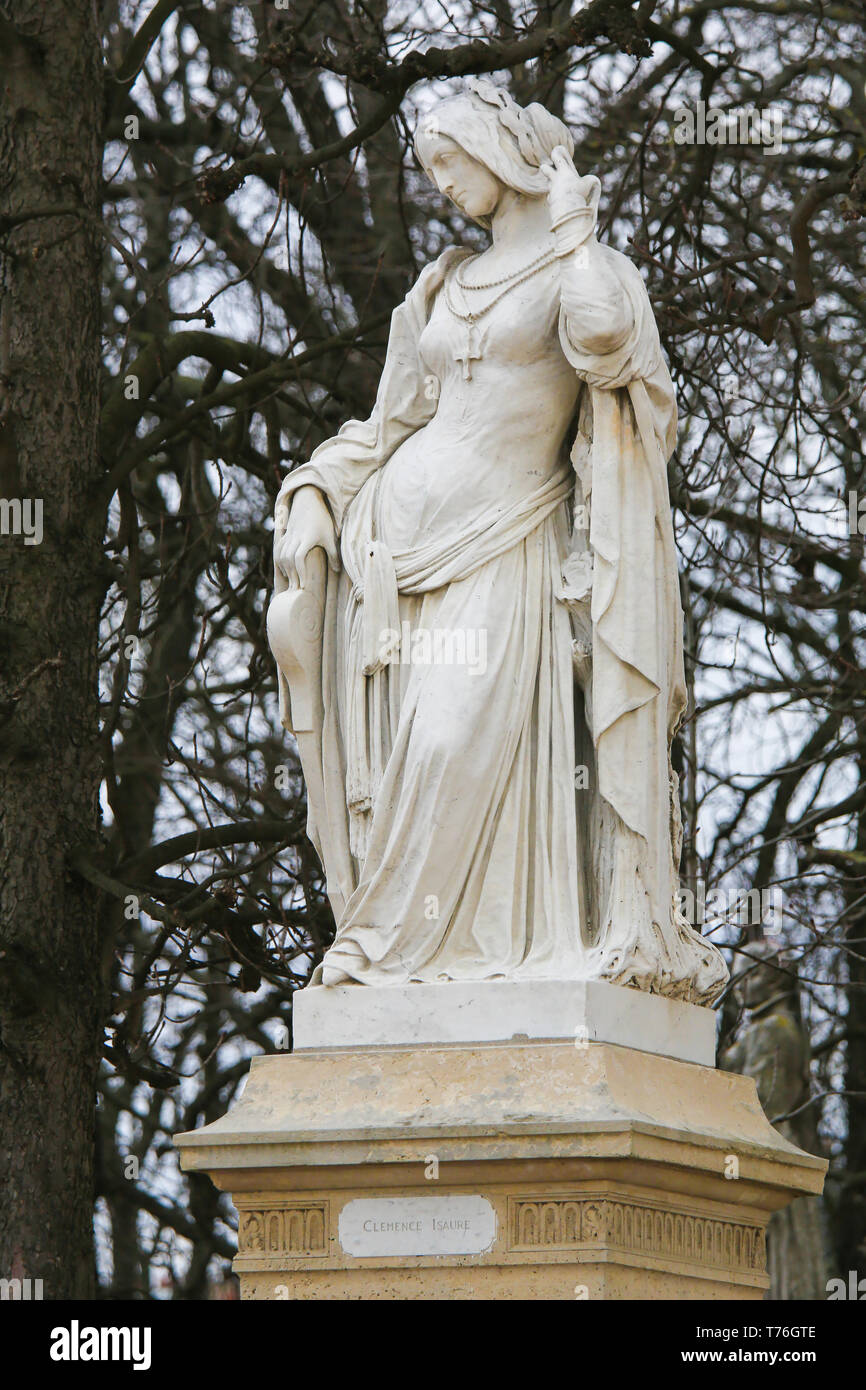 Statue of Clemence Isaure, a legendary French medieval figure in the Jardin du Luxembourg, Paris, France - Stock Image