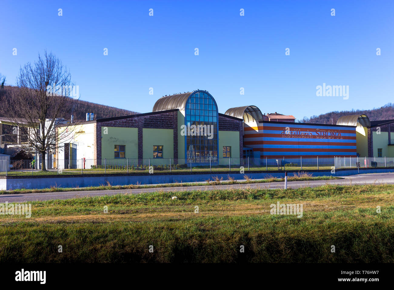 Piobesi d'Alba, Cuneo / Italy 03-11-2019: Overview of the Sibona Grappa Distillation plant in Italy - Stock Image