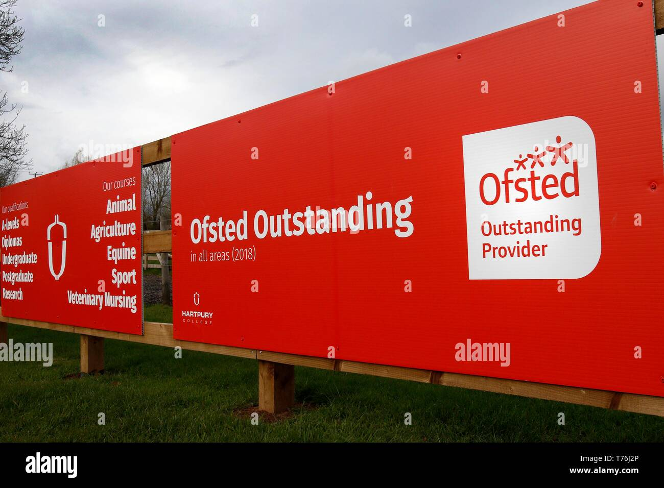 Signage, Hartpury College and University Centre in Gloucestershire. - Stock Image