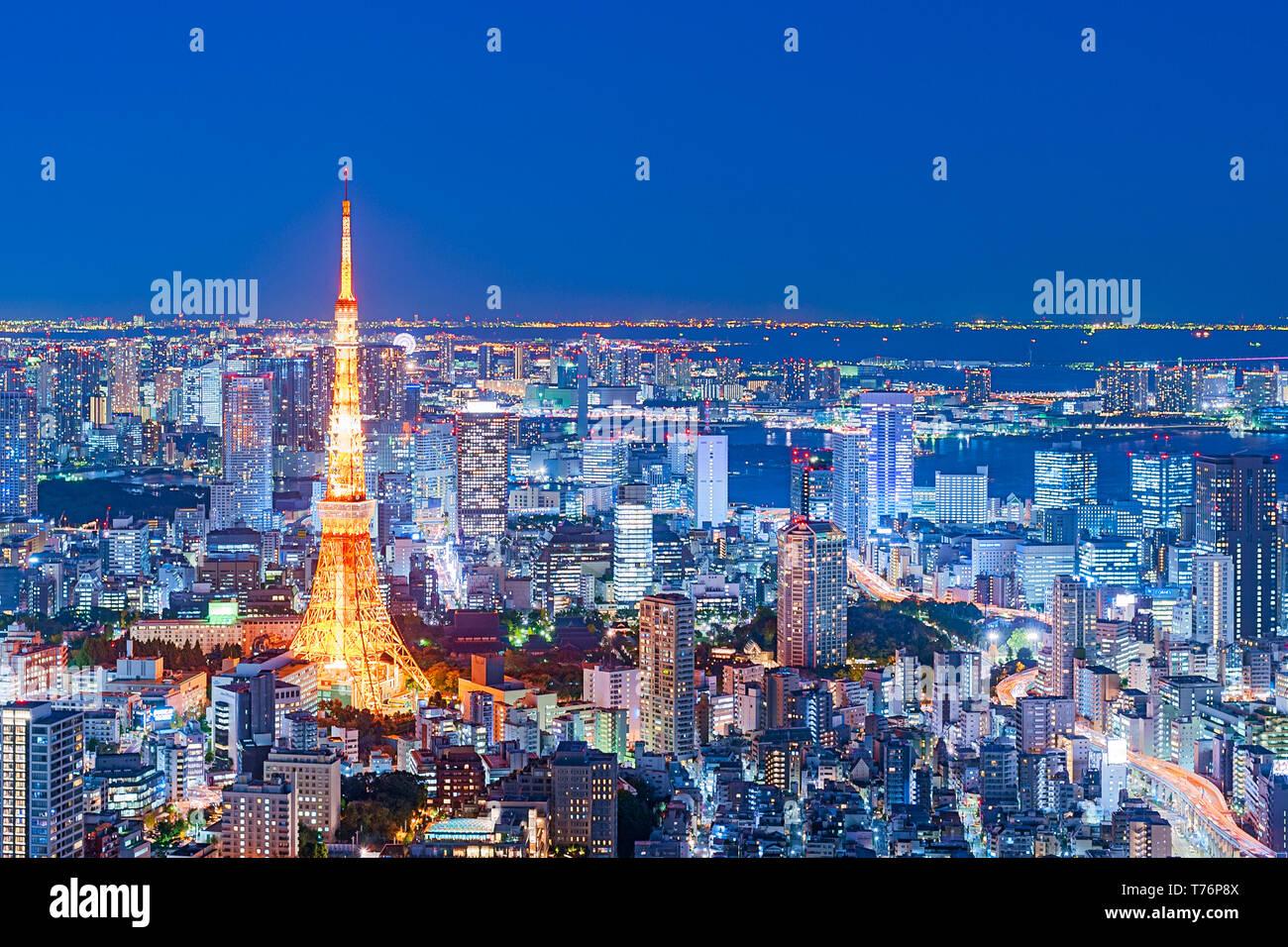Tokyo Tower View Tokyo Skyline Lights Night Stock Photo
