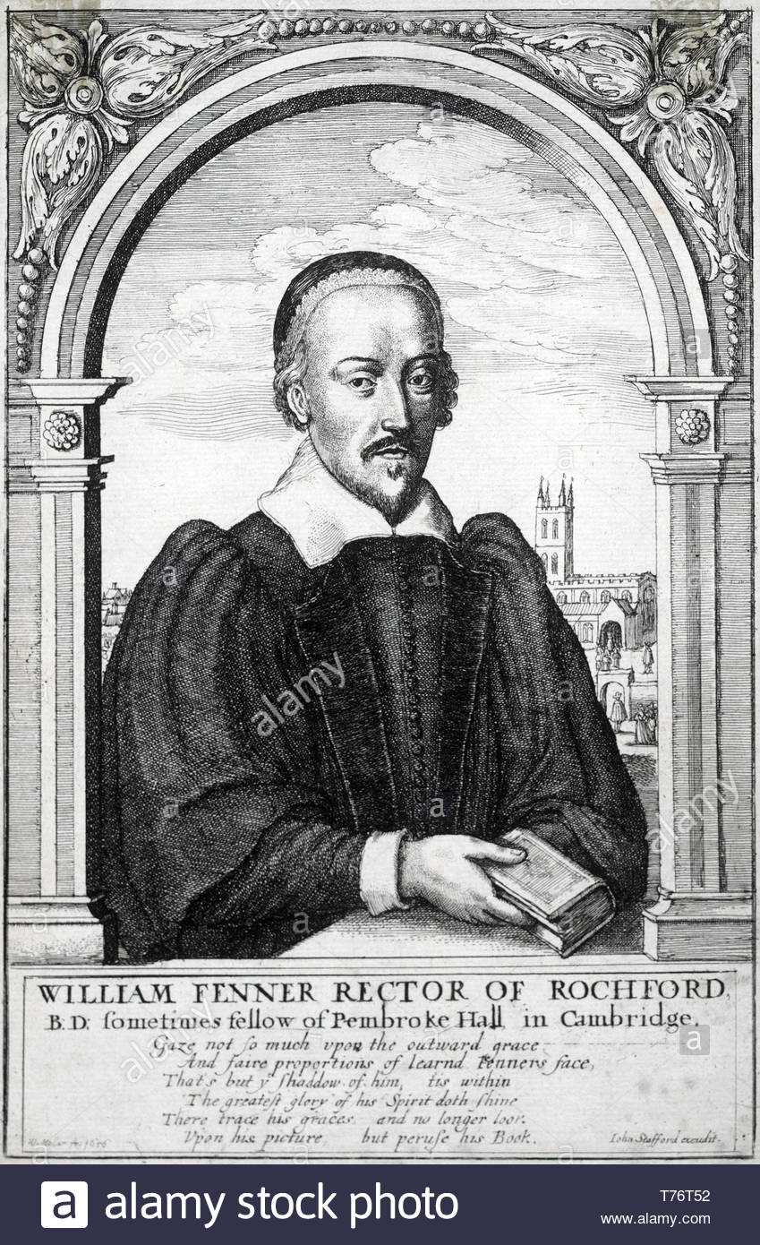 William Fenner portrait, 1600–1640, was an English Puritan divine, etching by Bohemian etcher Wenceslaus Hollar from 1656 - Stock Image