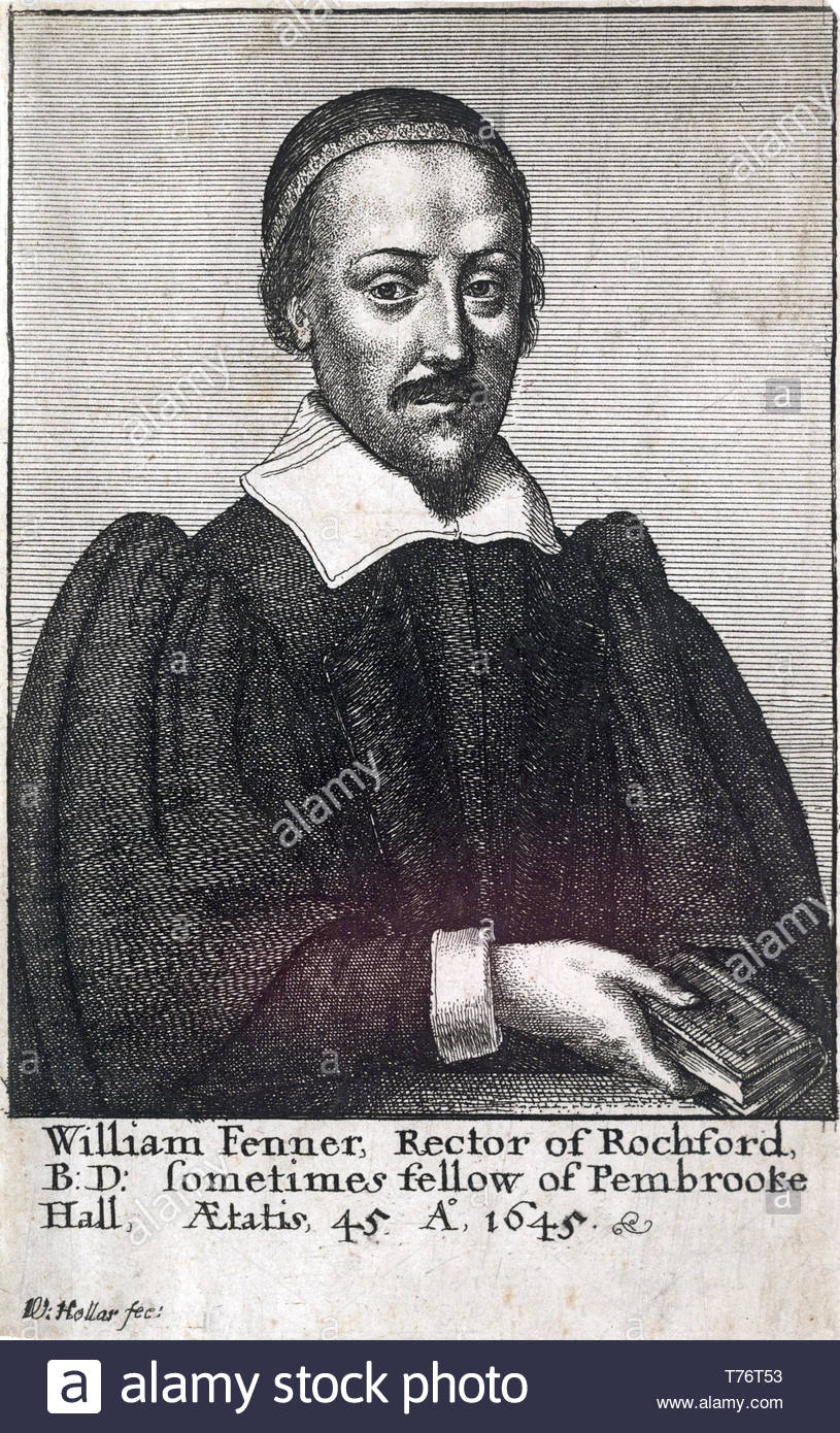 William Fenner portrait, 1600–1640, was an English Puritan divine, etching by Bohemian etcher Wenceslaus Hollar from 1600s - Stock Image