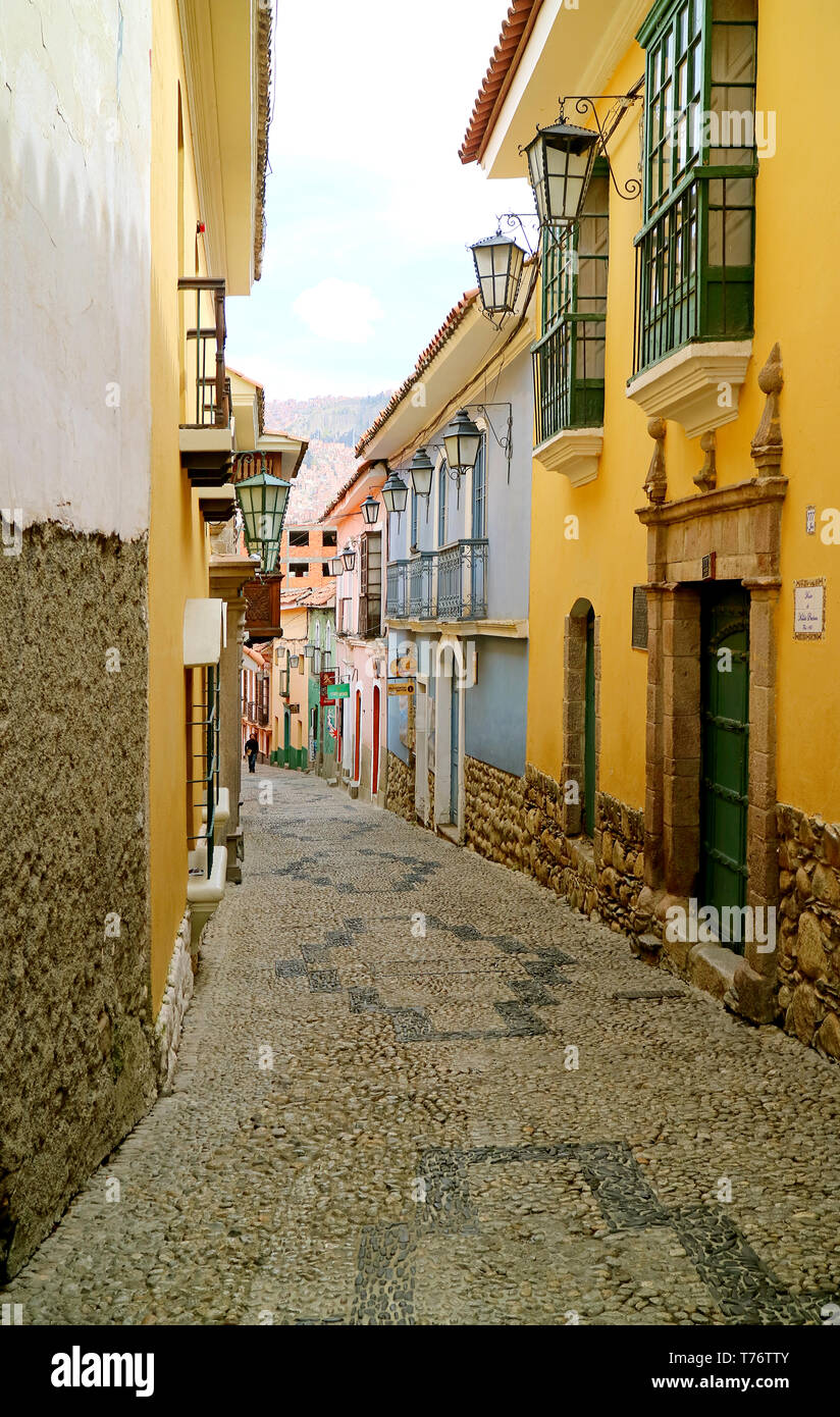 Calle Jaen, the Artistic Narrow Street with Several Historic Building in La Paz, Bolivia - Stock Image