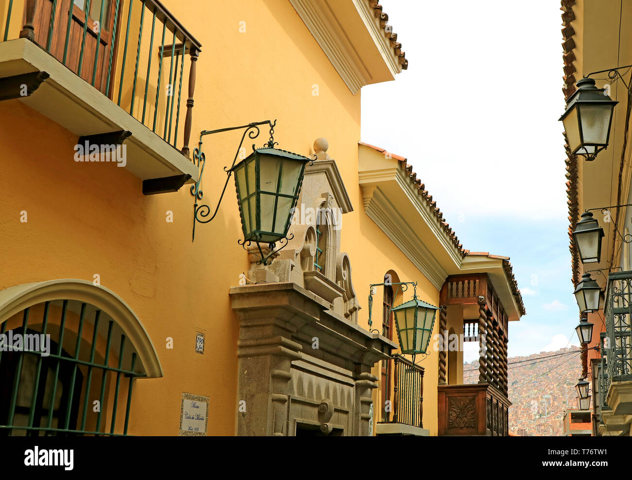 The Historic Colonial Buildings on Jaen Street or Calle Jaen in La Paz, Bolivia - Stock Image