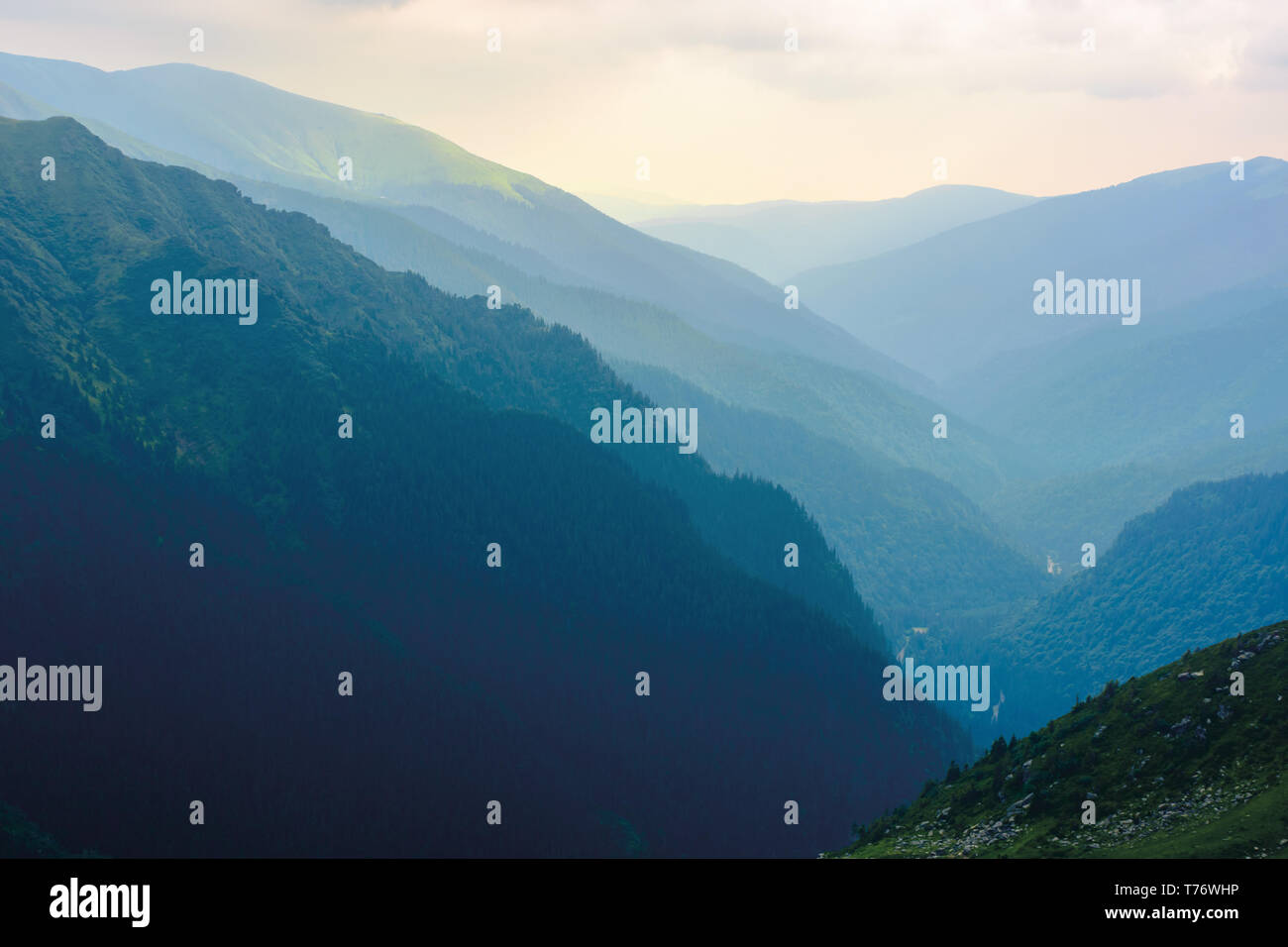 mountain ridge on a cloudy day. beautiful nature summer scenery in Fagaras mountains, Romania. concept of outdoor activity in any weather condition. l - Stock Image