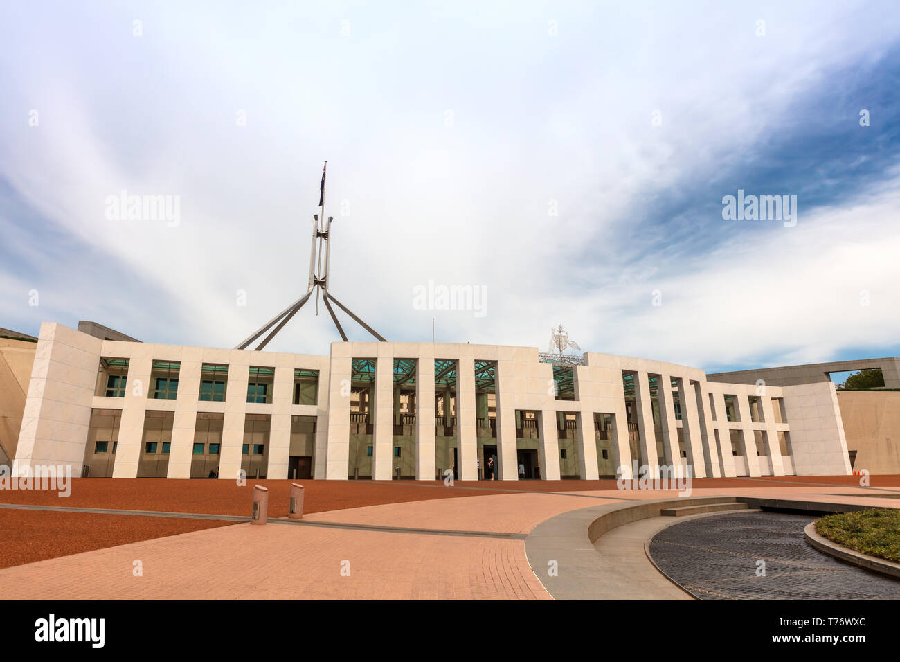 Parliament House, Canberra was opened on 9 May 1988 by Elizabeth II, it cost more than A$1.1 billion to build. Stock Photo