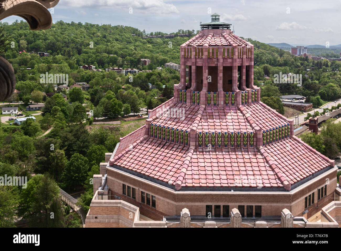 The rotunda of the City Building is captured from the federal courthouse, in Asheville, NC, USA - Stock Image