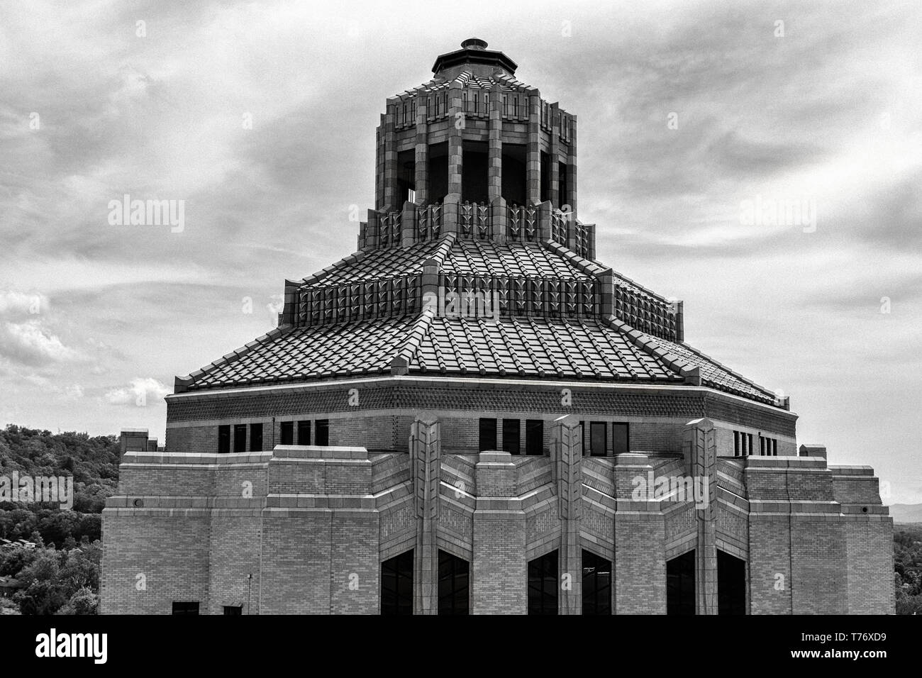 The octagonal roof and cupola of the City Building in Asheville, NC, USA Stock Photo