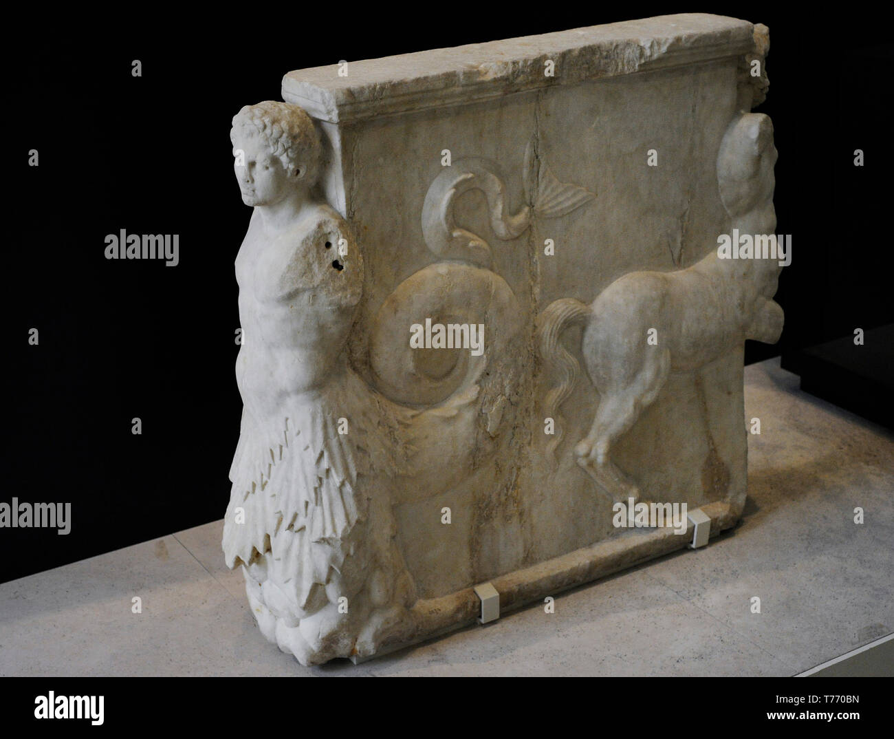 Table base. 1st century AD. Adorned with reliefs depicting a Triton and a centaur. Marble. From Italy. National Archaeological Museum. Madrid. Spain. - Stock Image