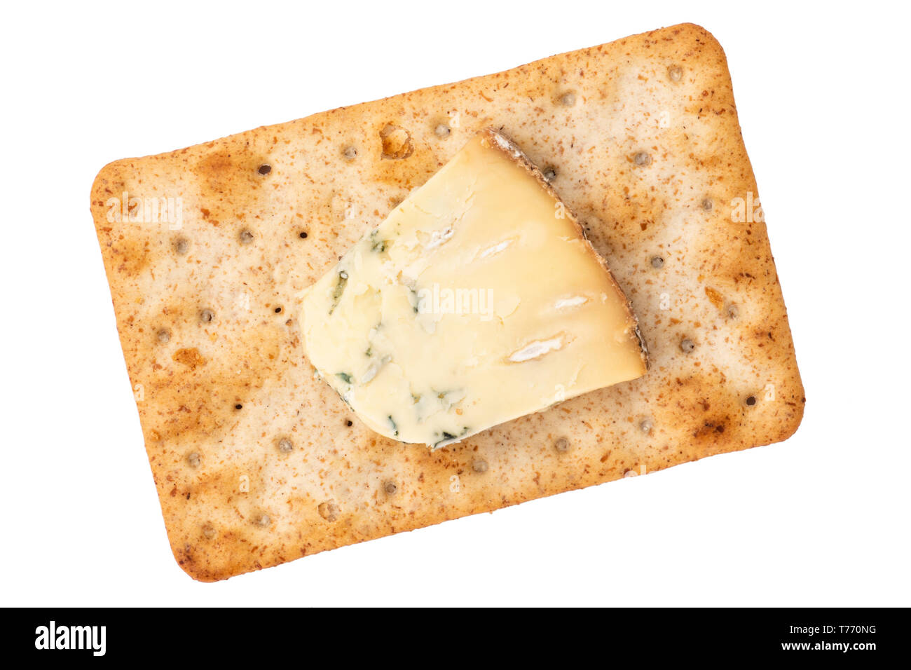 Cheese cracker with Blue Stilton cheese. Sourdough crackers for a quick snack, UK. Cut out or isolated on a white background. - Stock Image