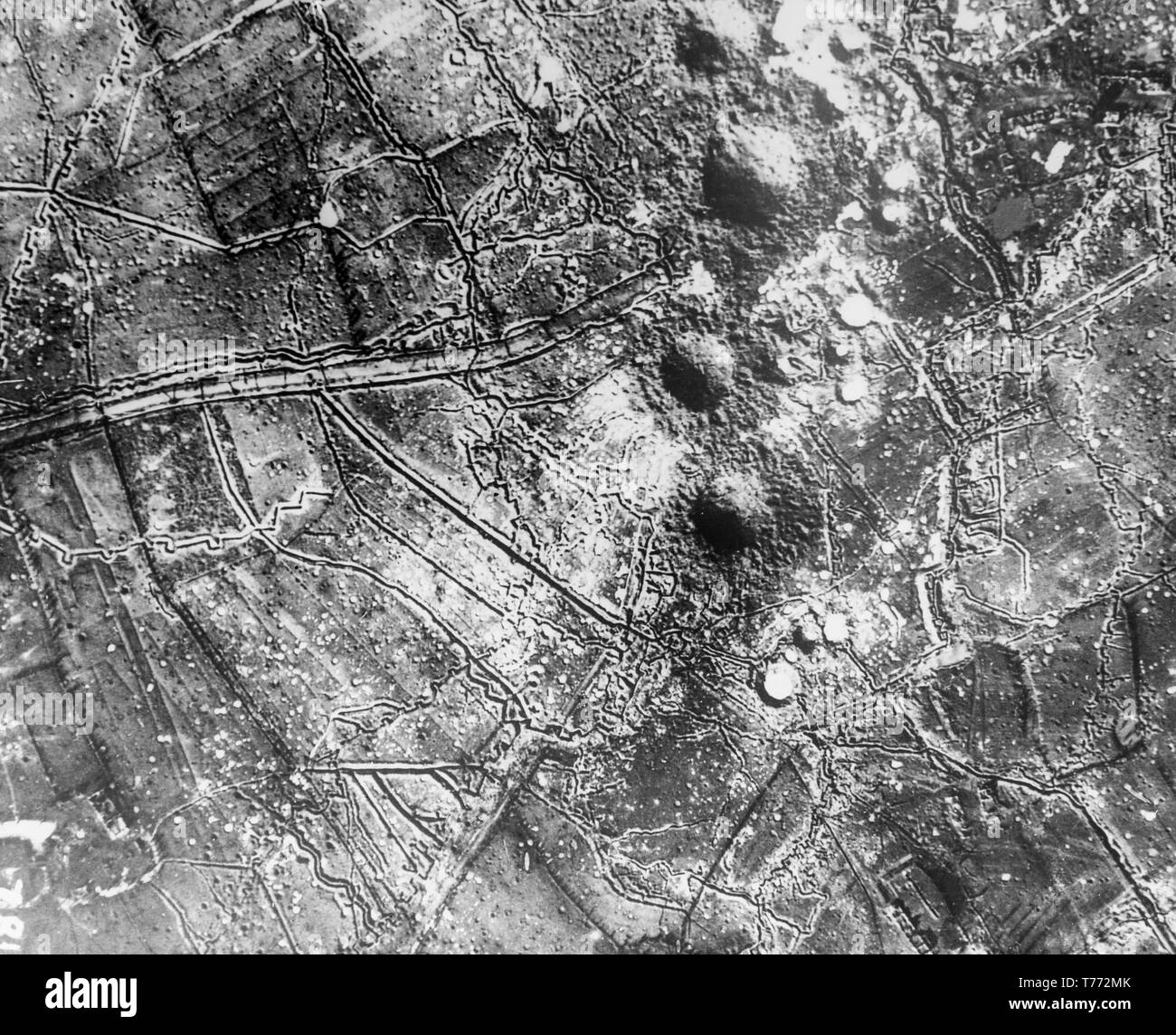 A contemporary black and white aerial photograph, taken somewhere over France during World War One, showing the effects of bombing bye the British Royal Air Force and Royal Flying Corps. - Stock Image