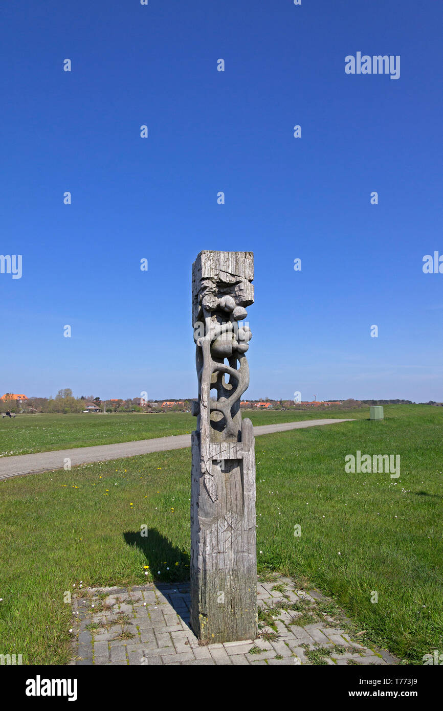 work of art at the harbour, Spiekeroog Island, East Friesland, Lower Saxony, Germany - Stock Image