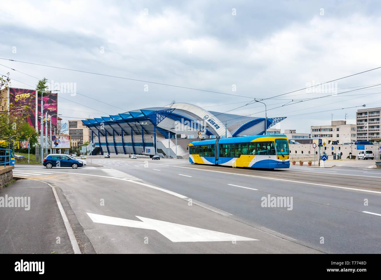 KOSICE, SLOVAKIA – APRIL 29 2019: Side view of Steel Arena – Ice hockey stadium where IIHF International Ice Hockey World Championship 2019 will be he - Stock Image