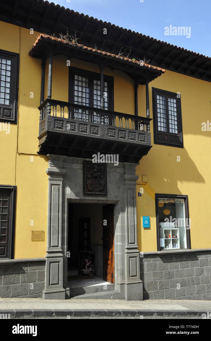 balcony on the house, La Orotava, Tenerife, Canary Islands, Spain - Stock Image