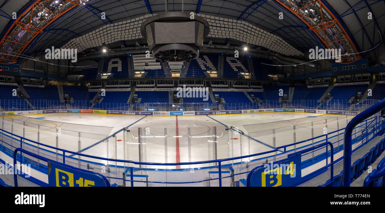 KOSICE, SLOVAKIA – APRIL 29 2019: indoor view of Steel Arena – Ice hockey stadium where IIHF International Ice Hockey World Championship 2019 will be  - Stock Image