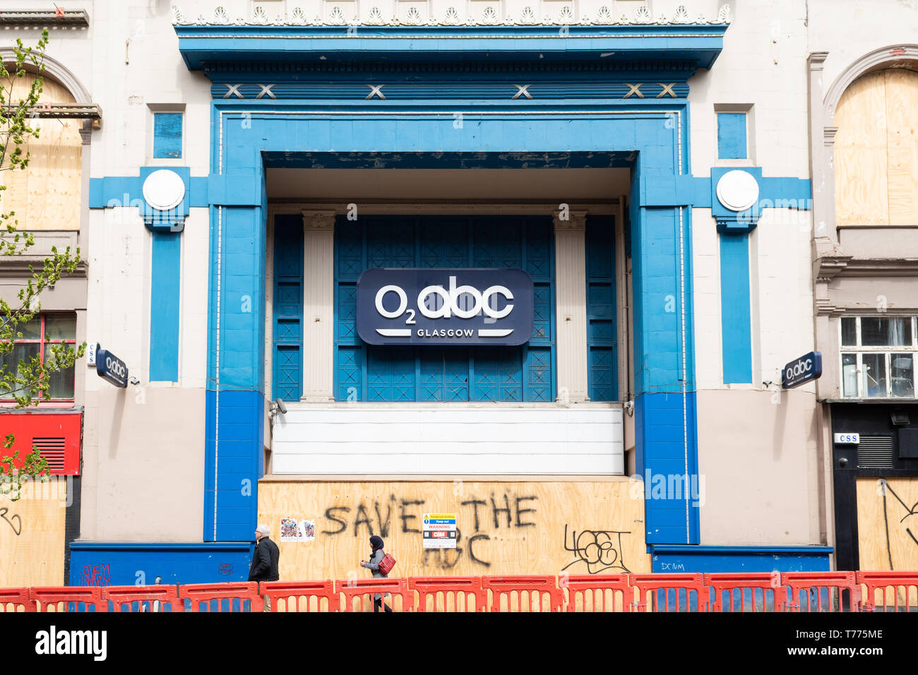 O2 ABC Sauchiehall Street, Glasgow music venue - boarded up after being severely damaged by fire in 2018 Stock Photo