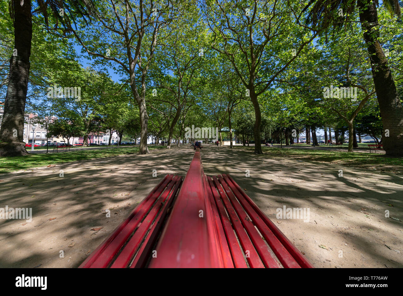 Jardim do Passeio Alegre, in the Foz district of Porto on the coast, with red park bench and dappled sunlight. - Stock Image